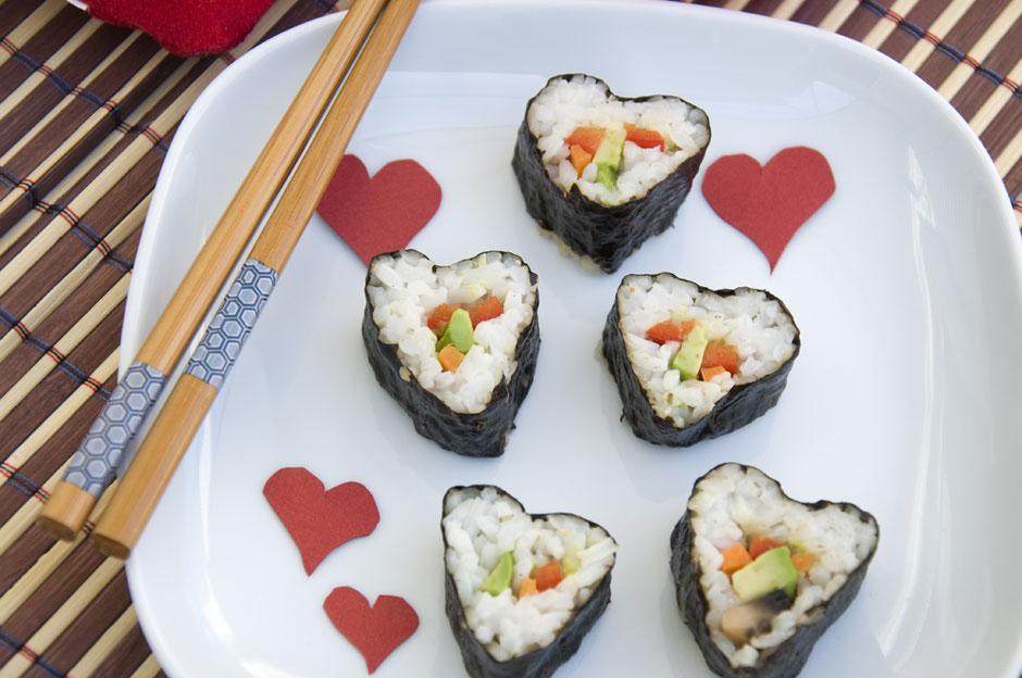 Herzsushi vegan Sushi in Herzform
