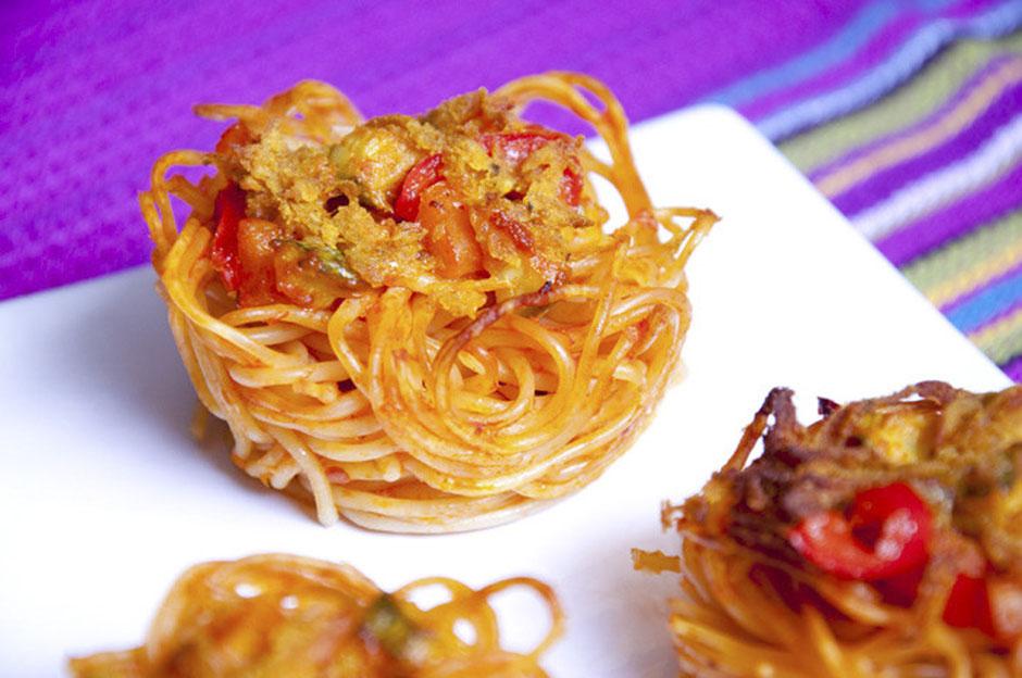 Spaghetti-Nester Muffin-Nudelnester vegan