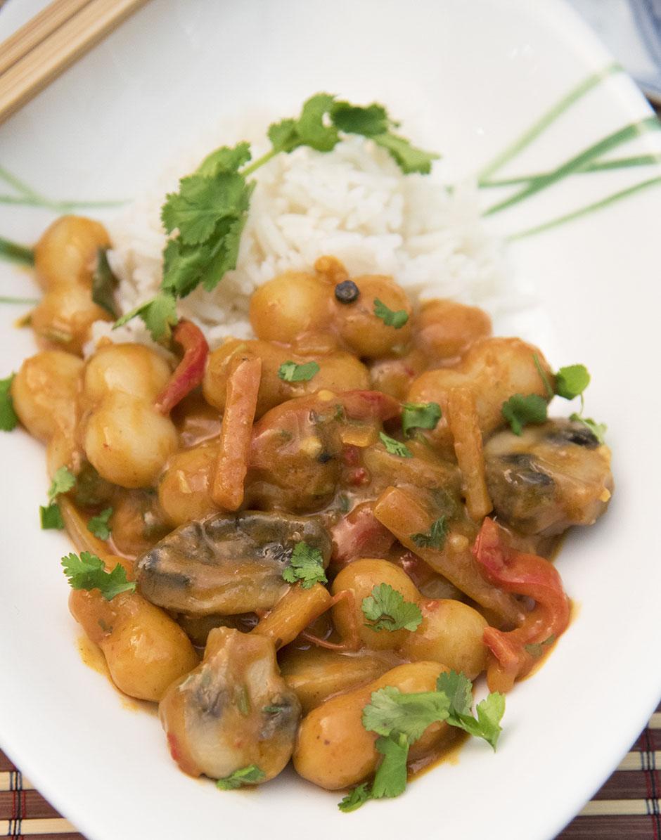 Vegane Tteokbokki-scharfe Koreanische Reiskuchen