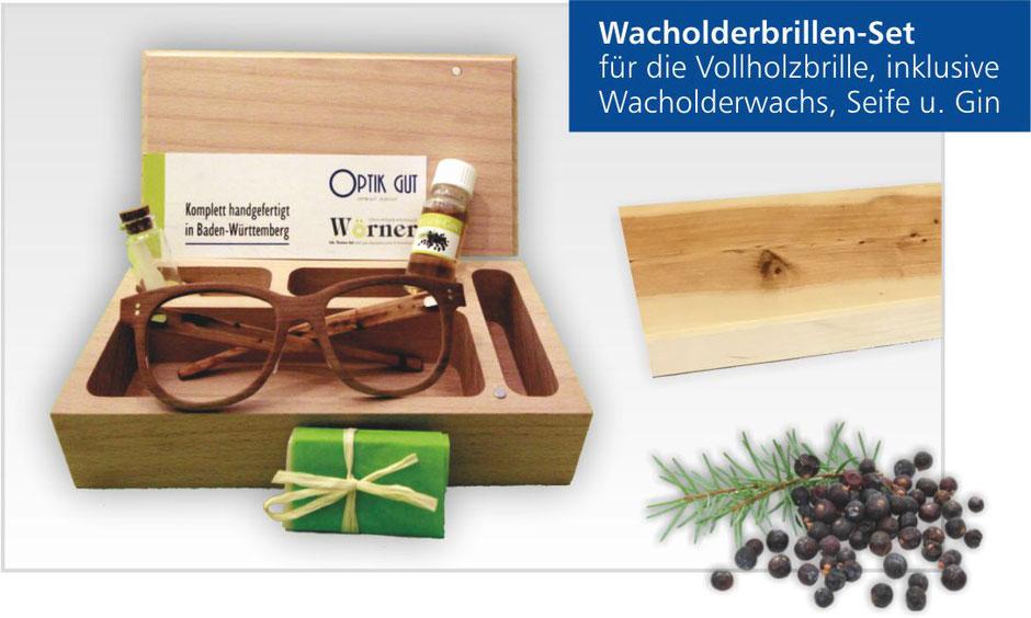 Wacholder-Brille in Holzbox mit Wacholderwachs Seife und Gin