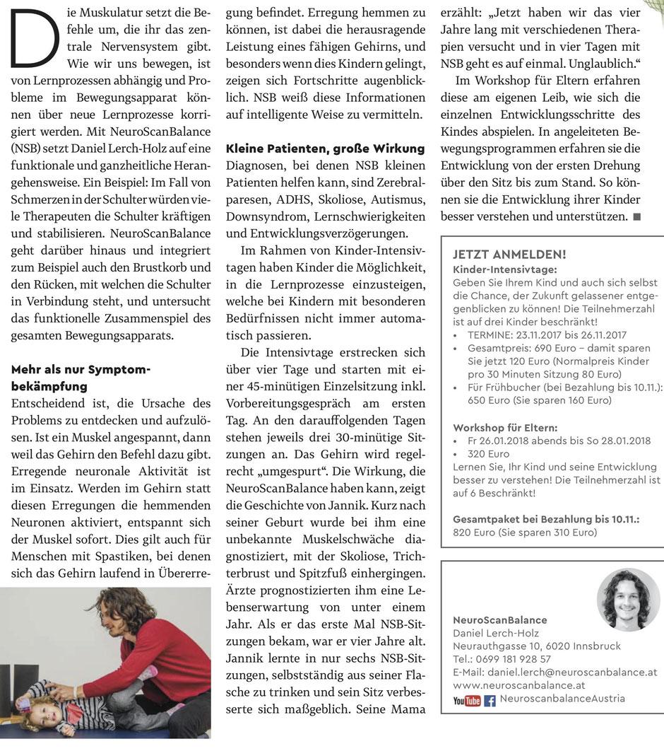 NeuroScanBalance - Mehr als nur Symptombekämpfung - Text zum Thema NeuroScanBalance für Kinder und über Daniel Lerch-Holz aus Gesund im Tirol