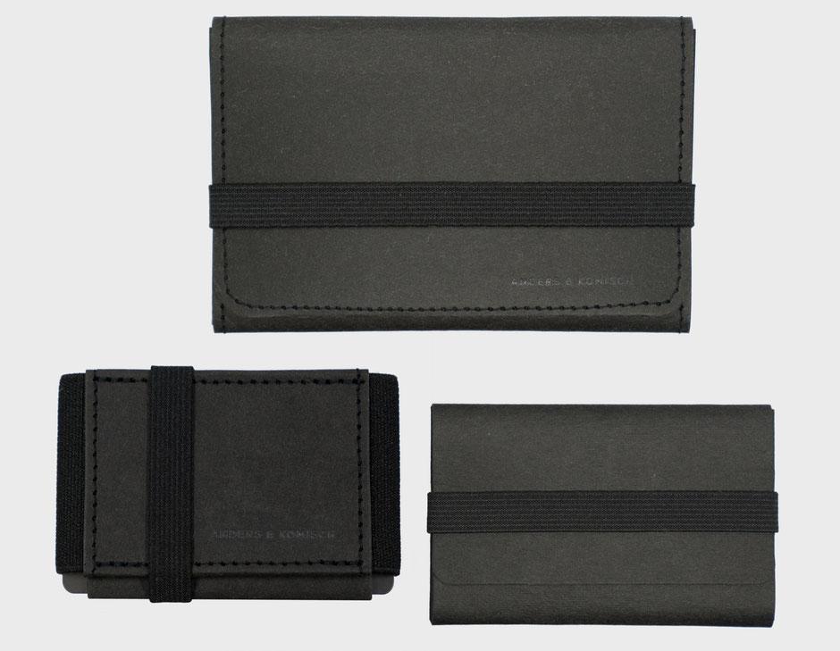 Kartenetui Mini Portemonnaies Kleiner Geldbeutel Geldbörsen Slim wallets schwarz Visitenkartenetui Portmonee made in Germany aus Berlin nachhaltig