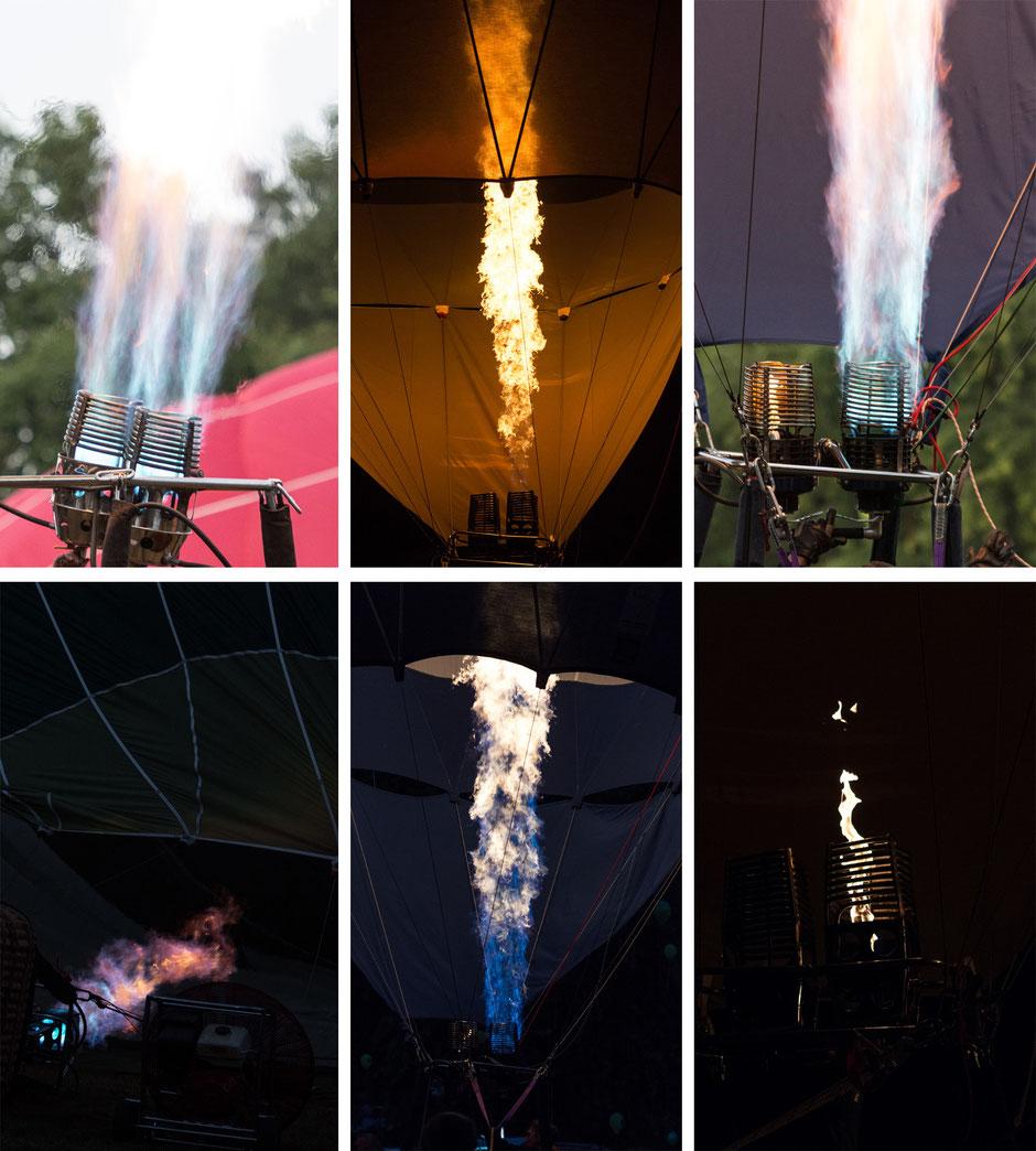Die Brenner werfen interessante Flammenbilder