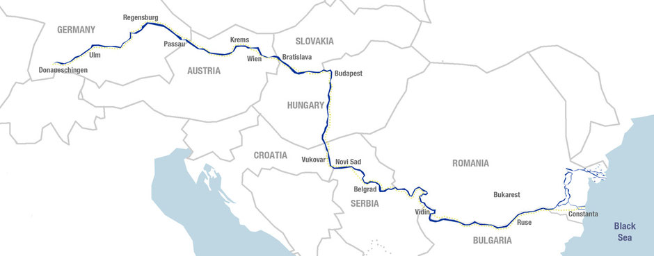 Map of Danube Cycle Path and Eurovelo 6