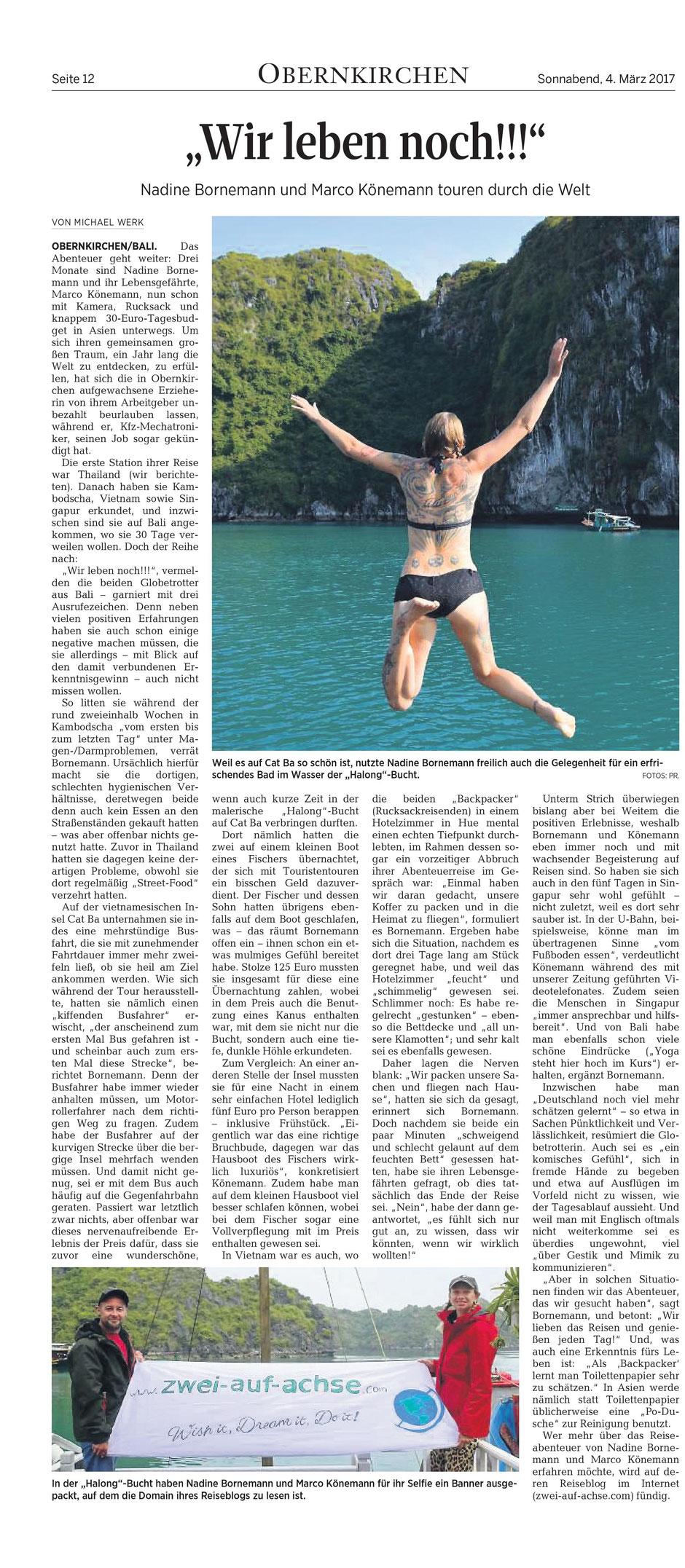Halong Bay, Vietnam, Backpacker, Weltreise, Zwei auf Achse, Schaumburger Nachrichten, Banner,
