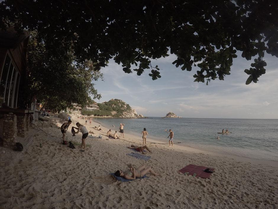 Ko Tao, Shark-Bay, Strand, Thailand, Thailand 2016. Zwei auf Achse, Meer, Beach, Palmen