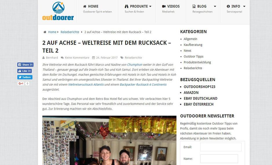 Outdoorer, Zwei auf Achse, Backpacker, Abenteuer, Thailand, Marco Könemann, Nadine Bornemann