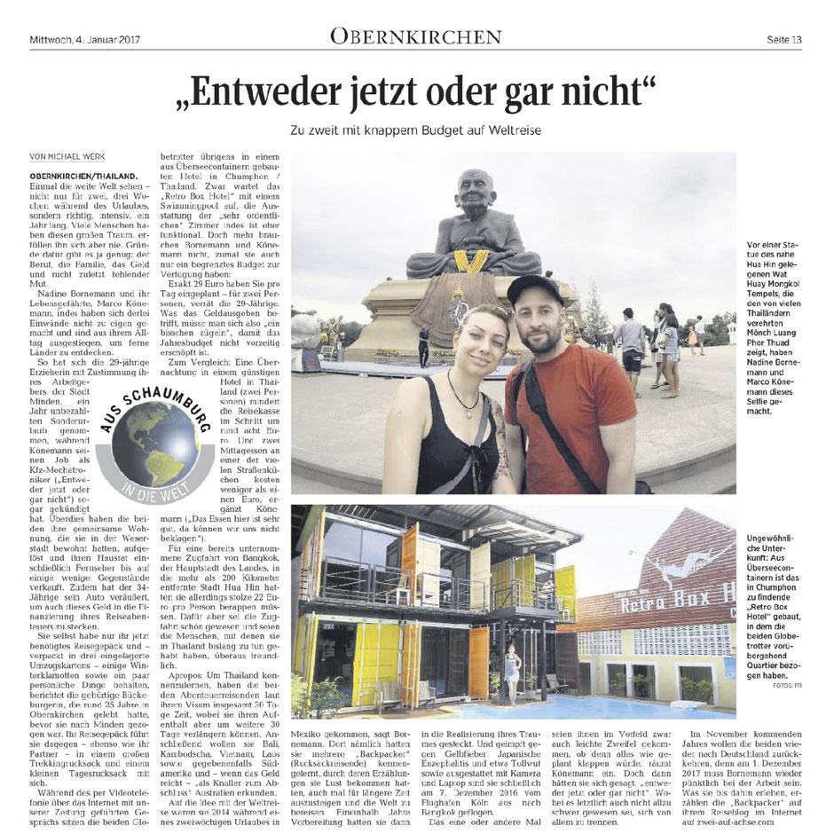 Zeitung, Zwei auf Achse, Schaumburer Zeitung, Reisebericht