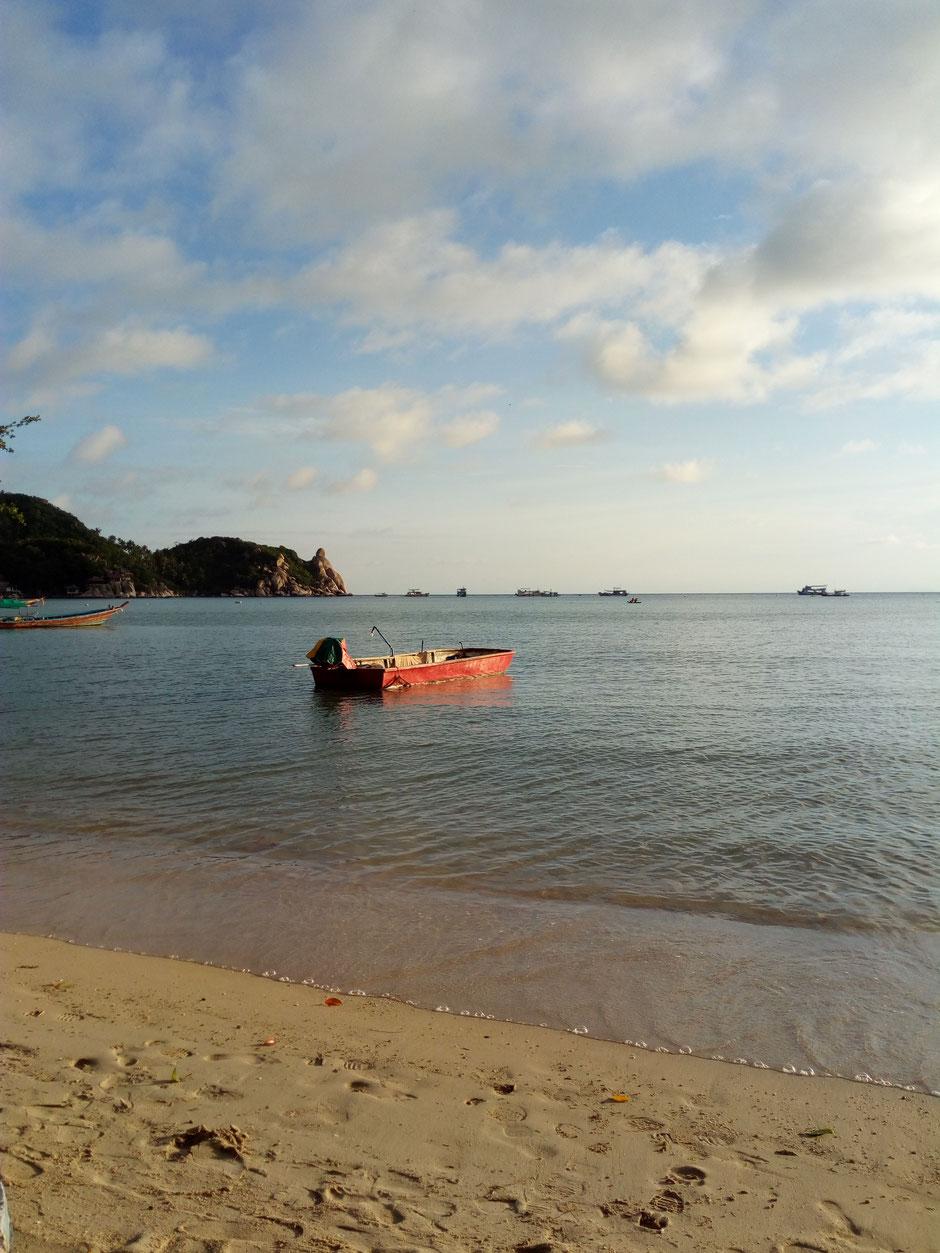 Ko Tao, Strand, Sonnenuntergang, Boot