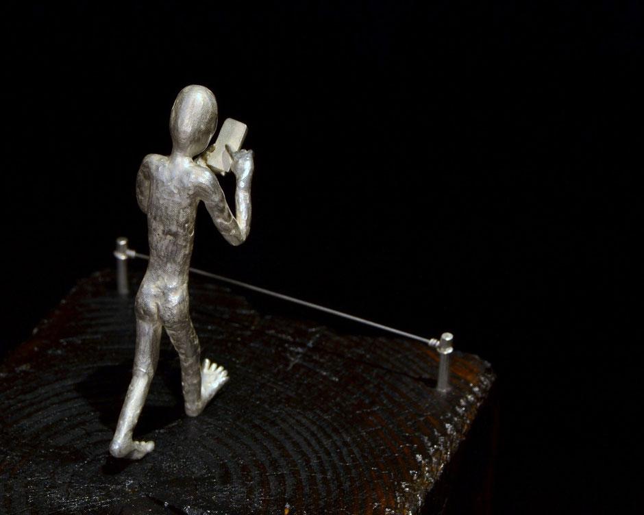 silver sculpture new blindness, Holger Schulz Småland Sweden silver wood