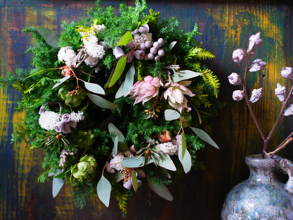 11月のworkshop『針葉樹香るグリーンリース』