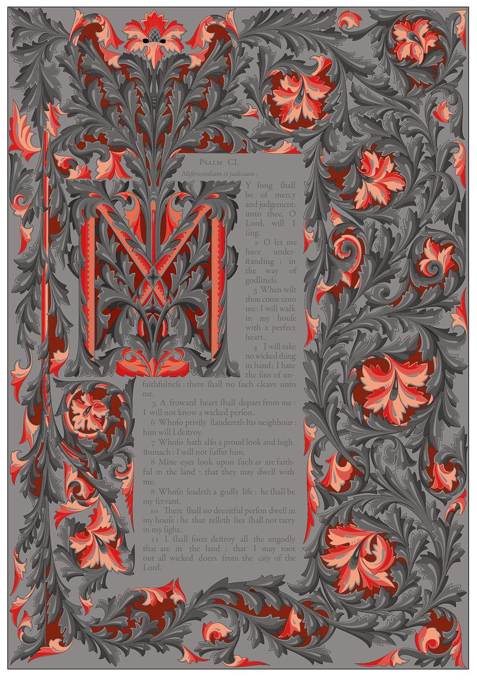 De inspiratiebron is Owen Jones Victoria Psalter. Een gelithografeerde uitgave uit 1861.