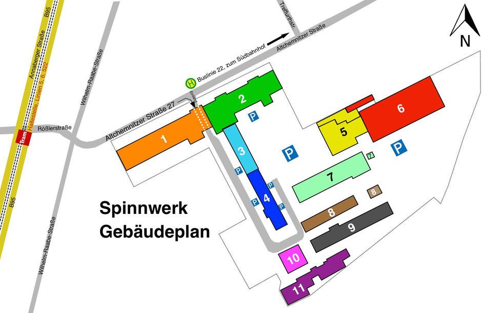 Gebäudeplan Lageplan Spinnwerk Chemnitz, Vermietung von Gewerbeflächen