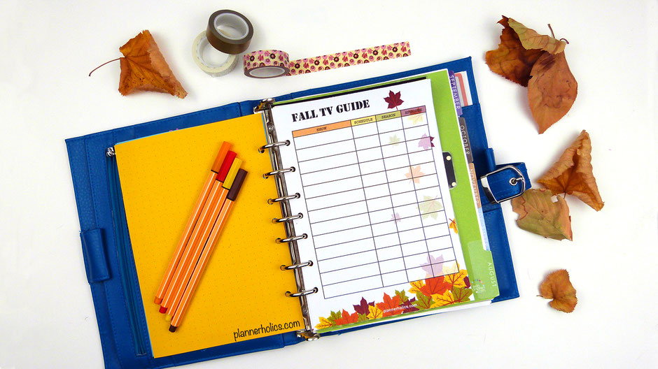 free planner printable fall tv show guide