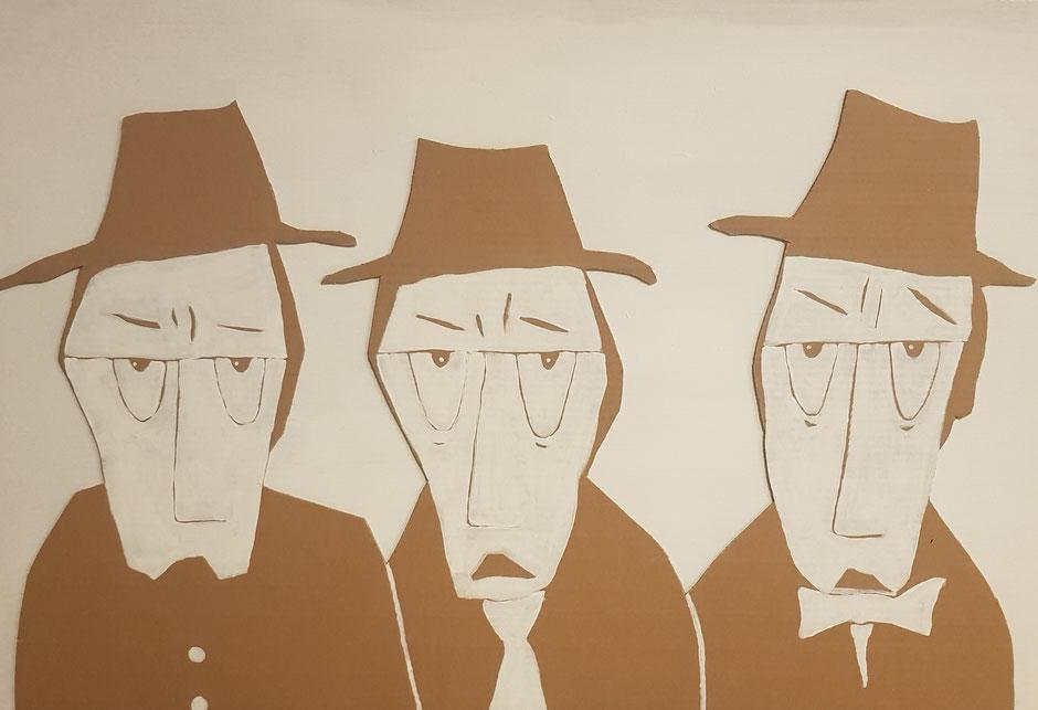 Cardboard Art Bild von 3 Männern