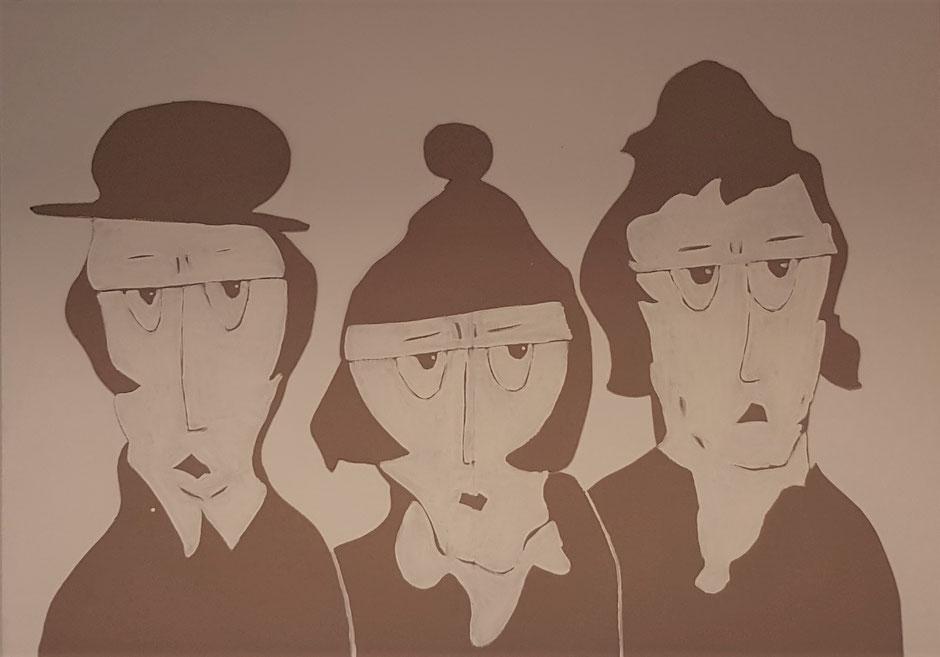 Cardboard Art Bild von 3 Frauen