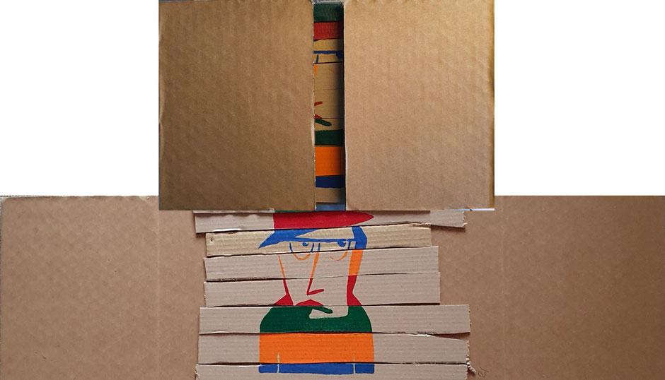 Cardboard Art Bild eines Mannes aus Kartonelementen