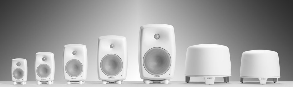 La gamme Genelec Home Audio au complet chez Rhapsody Hifi - G one, G Two, G Three, F Four, G Five, F One, F Two