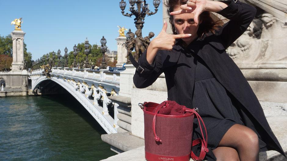 l'Insolente Paris Gourmande - sacs et pochettes en lin et cuir - Maroquinerie pour femmes -sac et pochette dessinés en France - Accessoire de mode en lin qui donnent du Pep's à vos tenues