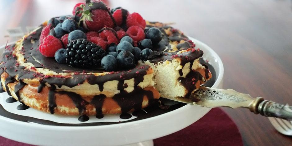 Kerstins Keto, Käse Kuchen mit Schoko-Swirl