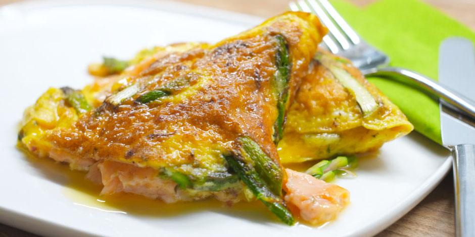 Kerstins Keto, Omelett mit grünem Spargel, geräuchertem Lachs und Parmesan