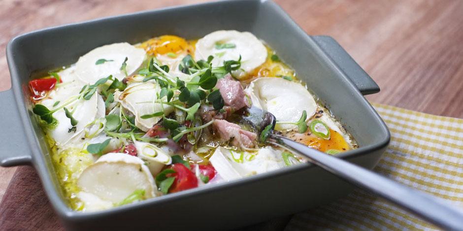 Kerstins Keto, Thunfisch mit Ei und Ziegenkäse