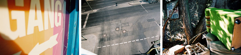 Berlin Kreuzberg Steglitz Wedding Falckensteinstrasse, Schloßstrasse, Schildhornstrasse, Brunnenstrasse - Eingang Detail Asphalt Strassenkreuzung von oben Sperrmüll Sessel - Architekturfotografie Berlin - oqopo bildunst