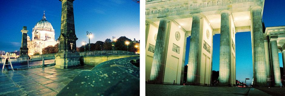 Berlin Mitte - Museumsinsel und Berliner Dom - Brandenburger Tor Blaue Stunde Froschperspektive