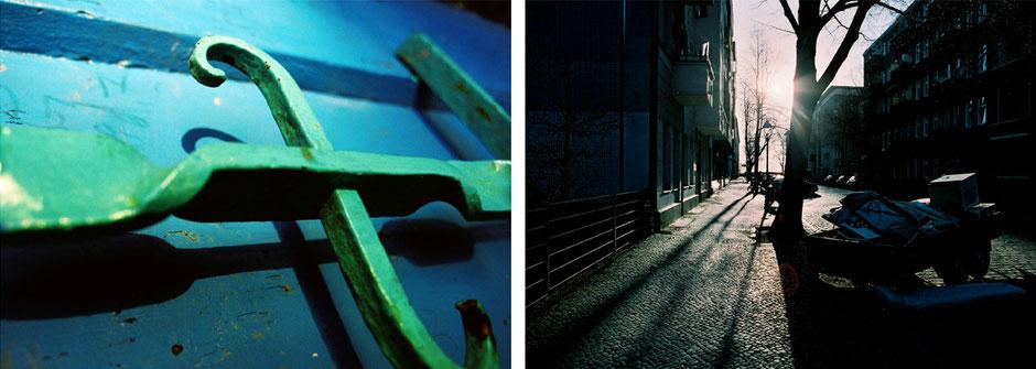 Berlin Neukölln Schillerpromenade Detail Metall in grün blau - Kienitzer Strasse Gegenlicht Gehweg Richtung Flughafen Tempelhof - Architekturfotografie Berlin - oqopo bildunst
