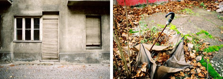 Berlin Neukölln Juliusstrasse Parterre im August 2005 - Berlin Rudow Kanalstrasse Detail Regenschirm verschmilzt mit Moos und Laub im Dezember 2006 - Architekturfotografie Berlin - oqopo bildunst