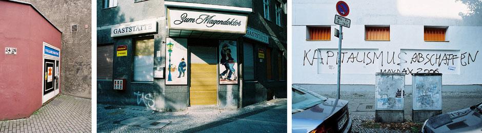 Berlin Neukölln Britz Rudower Strasse - Schudomastrasse Rixdorf Kneipe Zum Magendoktor - Weichselstrasse Graffiti auf Hauswand Kapitalismus Absschaffen - Architekturfotografie Berlin - oqopo bildunst