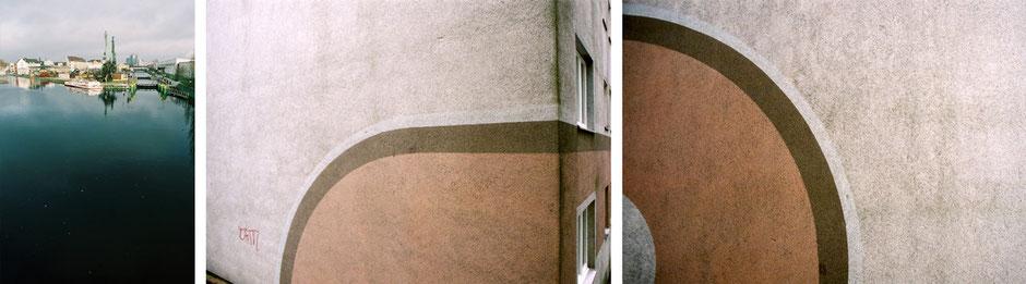 Berlin Neukölln Hafen mit Spiegelung - Britz Rungiusstrasse Fassaden Dekoration an Wohnhaus in braun - Architekturfotografie Berlin - oqopo bildunst