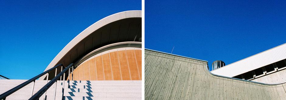 Kongresshalle Berlin Tiergarten John-Foster-Dulles-Allee Treppengeländer mit Schatten - Tierversuchsanstalt FU Berlin Steglitz Krahmerstrasse