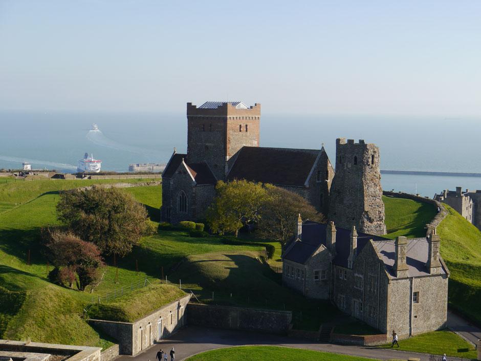 Aussicht vom Great Tower Richtung Hafen von Dover