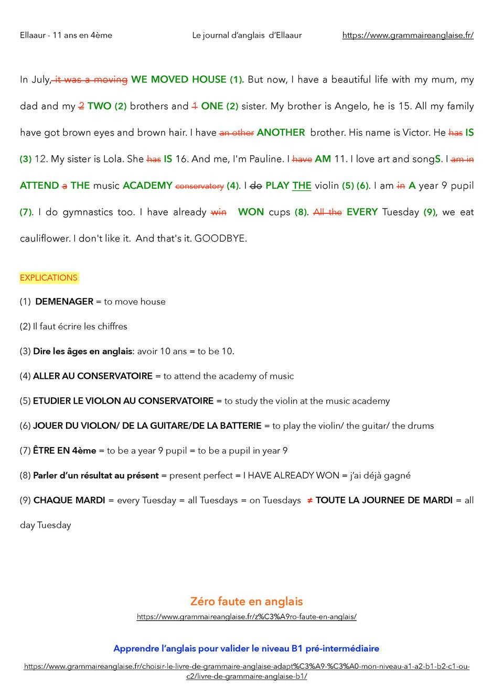 Journal D Anglais D Ellaaur 11 Ans En 4eme Grammaire Anglaise Vocabulaire Anglais Tous Niveaux