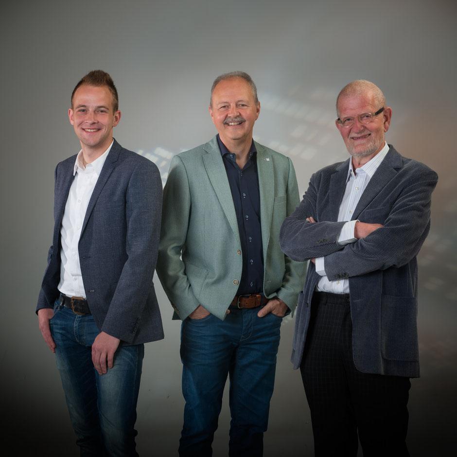 Raadsleden Leefbaar Simpelveld. v.l.n.r R.H.M. Rick Kisters, Frans Ortmans (Fractievoorzitter), Luud Schoonen