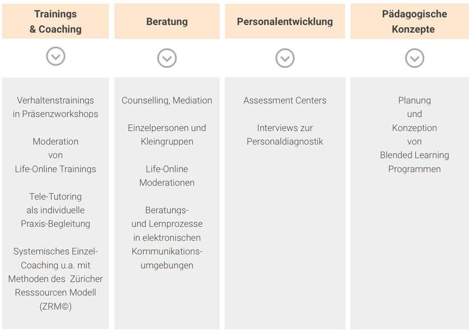 "Chart ""Über uns"" :Trainings & Coachings, Beratung, PErsonalentwicklung, Pädagogische Konzepte"