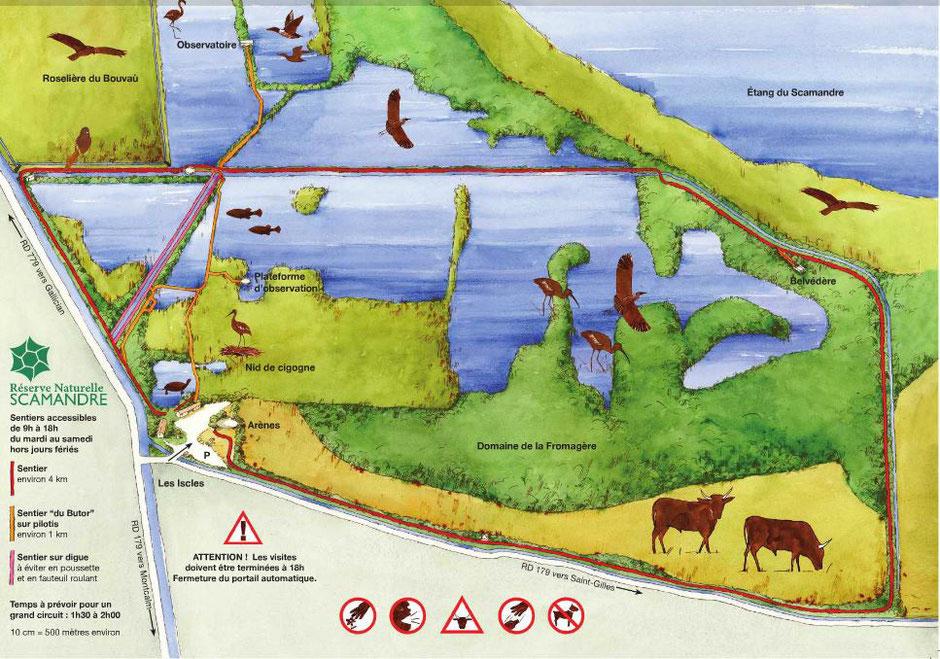 plan de la reserve du scamandre. missaventure blog. www.missaventure.com blog aventures, nature et photo