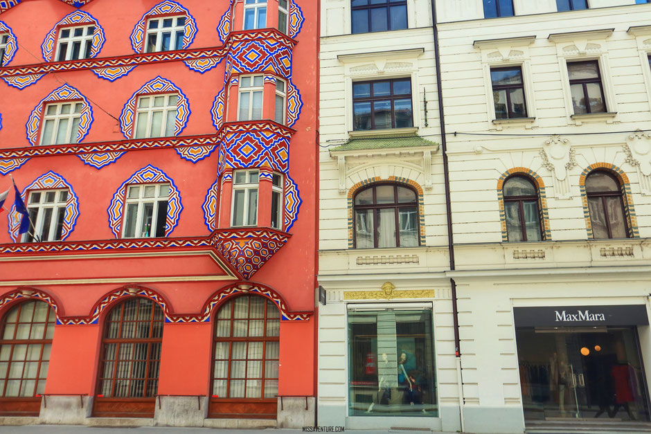 art nouveau et architecture de Ljubljana, SLOVÉNIE. www.missaventure.com blog voyage d'aventures, nature et photos. Road trip en Slovénie