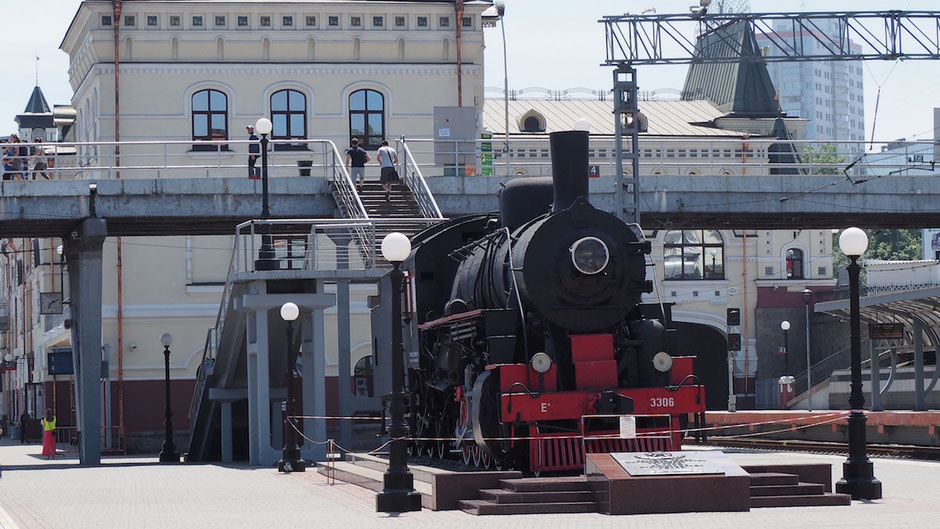 ウラジオストク駅に置かれたシベリア鉄道のSL