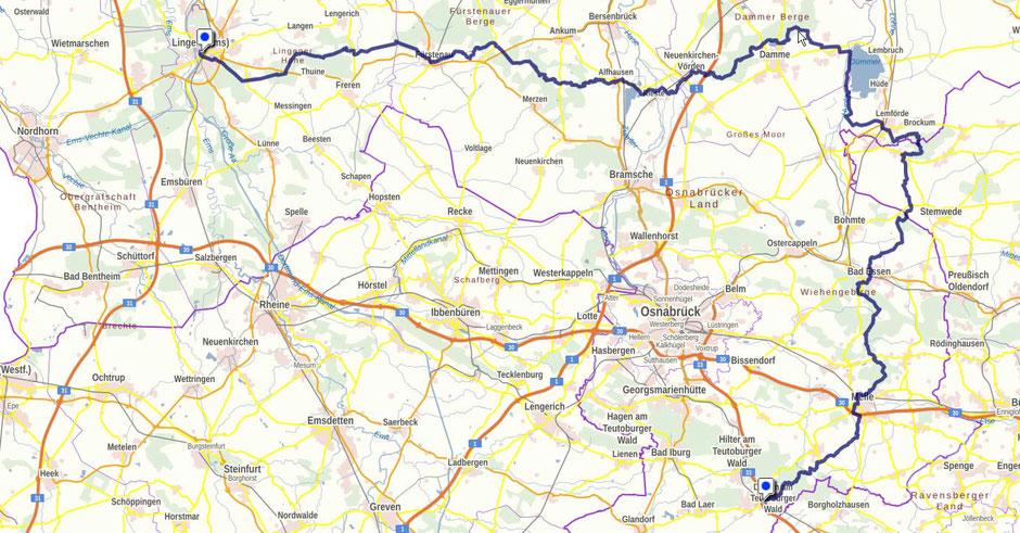 Screenshot des Ems-Hase-Hunte-Ems-Webes auf GeoLife.de. Dort ist der Weg als dynamische Karte dargestellt.