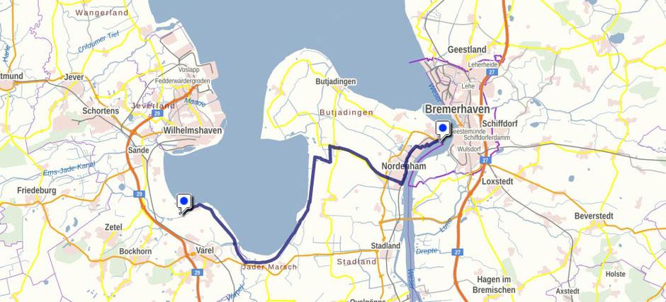 Screenshot des Bujadinger Weges auf GeoLife.de. Dort ist der Weg als dynamische Karte dargestellt.