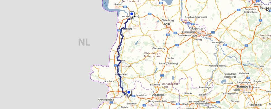 Screenshot des Emsweges auf GeoLife.de. Dort ist der Weg als dynamische Karte dargestellt.