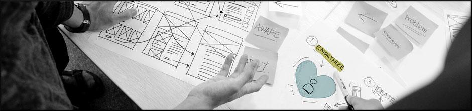 User Experience und Empathie Bleistiftzeichnung
