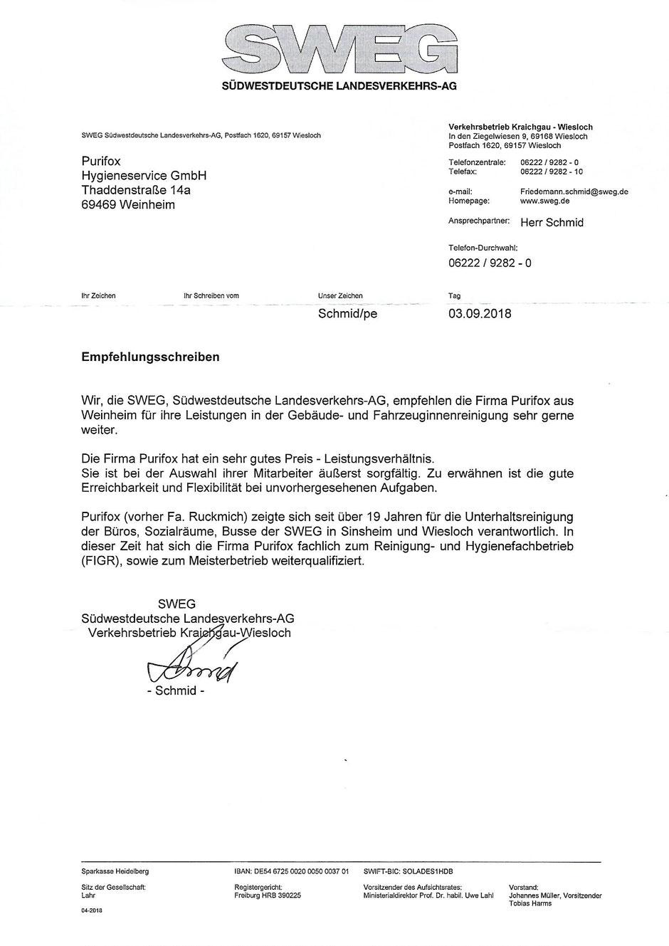 Empfehlungsschreiben - Gebäudereinigung in Mannheim & Umgebung