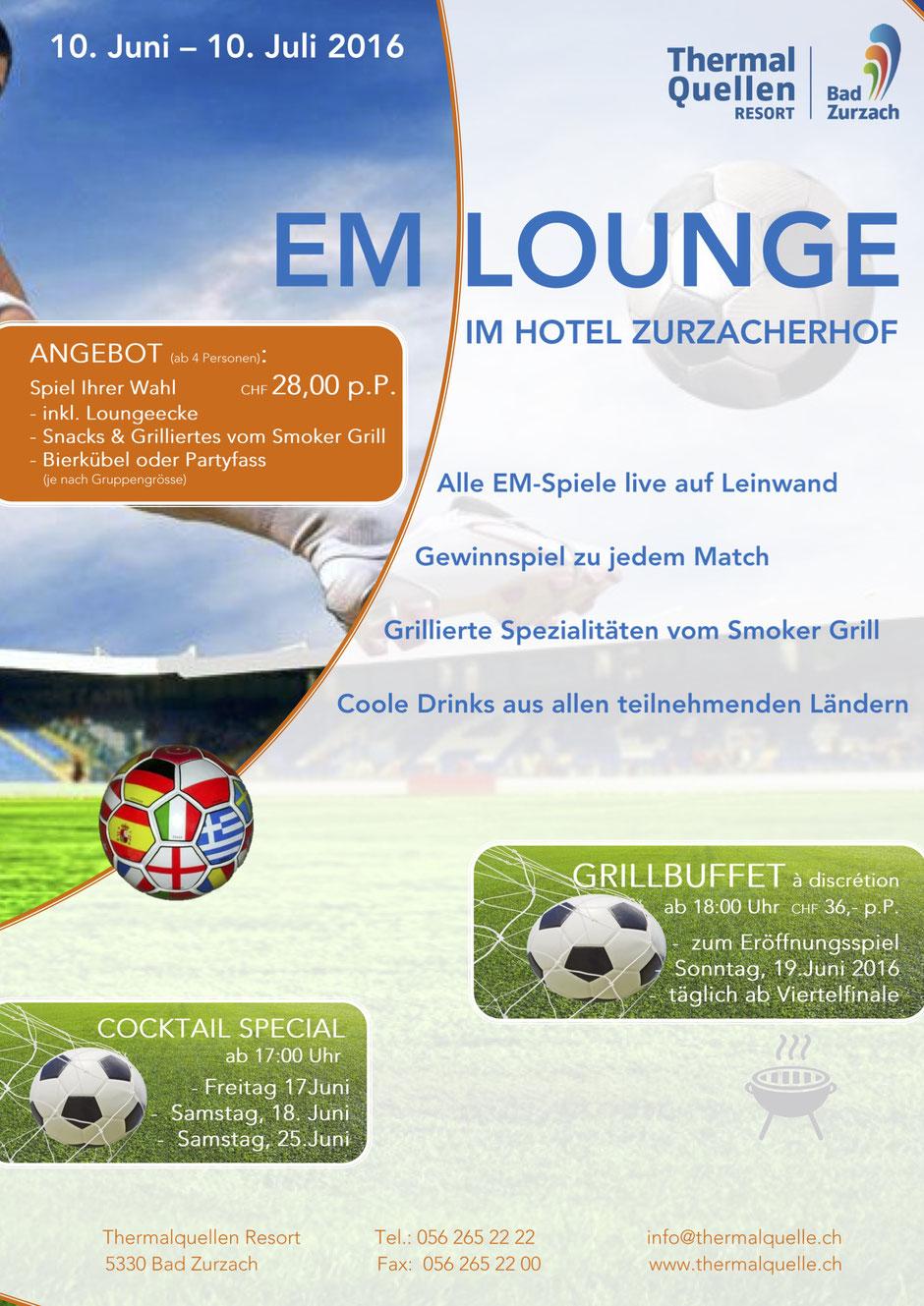Plakat EM-Lounge, Zurzacherhof, Bad Zurzach
