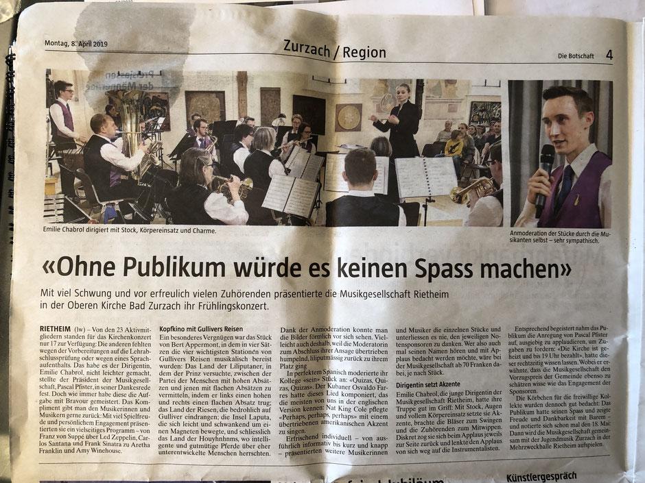 Bericht über das Konzert der MG Rietheim aus der Boschaft, inkl. 2 Fotos