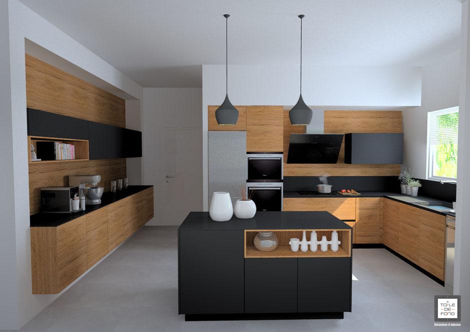 rénovation d'une cuisine noir mat et bois