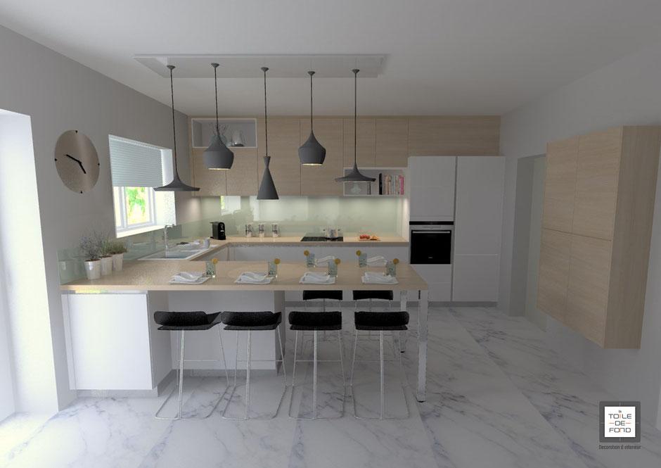 Projet 3D d'une cuisine bois et blanc