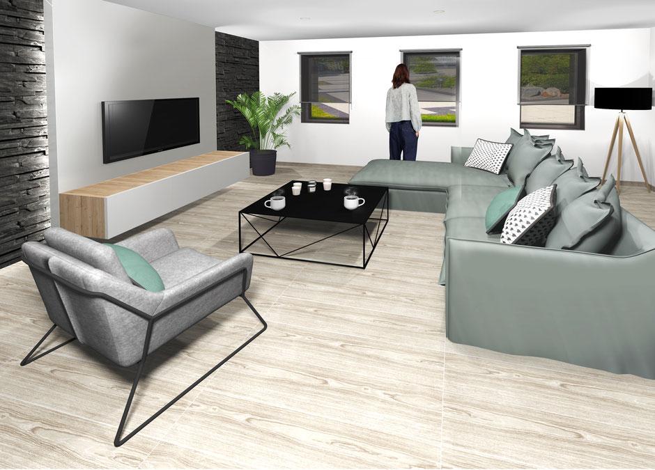 projet 3d d'un séjour, pierre de parement, cloison TV,  conception En Toile de Fond Décoration, Séverine EBER-HITZ